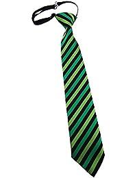 TigerTie Kinderkrawatte in gestreift gemustert - Krawatte vorgebunden mit Gummizug