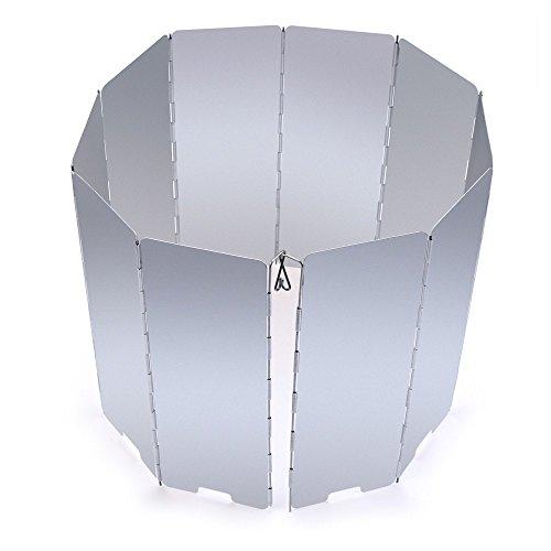 boldion £ š TM £ © 10assiettes portable extérieur pliable Poêle pare-brise rapide économiser de carburant Argent Pare-Brise de pique-nique en alliage d'aluminium pour camping