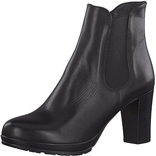 Tamaris Damen Stiefelette 25090-21,Frauen Stiefel,Boot,Halbstiefel,Damenstiefelette,Bootie,hoch,High Heel,Party,Trichterabsatz 8cm,Black Leather,EU 41 (Heel High Boots Wedge)