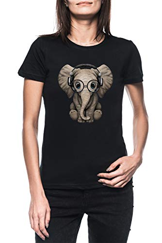 Linda Bebé Elefante DJ Vistiendo Auriculares Y Lentes Mujer Negro Camiseta Manga Corta Women's Black T-Shirt