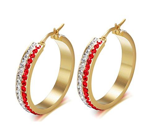 Vnox delle donne della ragazza in acciaio inox 2 Linea Cubic Zirconia di cristallo oro 14K placcato gli orecchini del cerchio,clip su