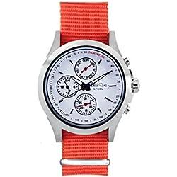 Ross Rino Chamäleon (Sternbild) Unisex Quarzuhr mit weißem Zifferblatt Analog-Anzeige und Orange Nylon Armband