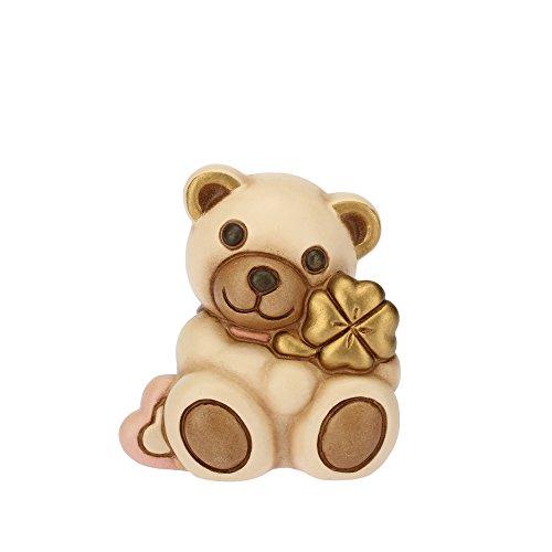 Thun - teddy piccolo con quadrifoglio e cuore rosa - animali da soprammobile da collezione - ceramica - i classici