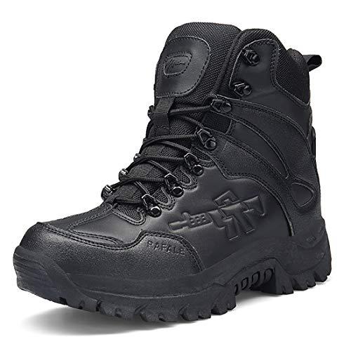 Stiefel Herren Wanderschuhe Damen Trekkingschuhe Armee Combat Tactical Boots Verschleißfest Rutschfeste Outdoor Einsatzstiefel Für Maenner Frauen, Schwarz01, 38 EU (Herstellergröße: 39 CN)