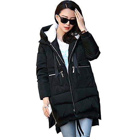 Jack Mall- Invierno de moda de tendencia en la parte larga de algodón ropa de algodón mujeres sueltan el espesamiento Ropa Ropa Mujer de la capa capa de la chaqueta ( Color : Negro , Tamaño : L