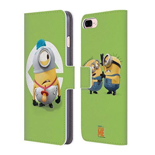 Head Case Designs Offizielle Despicable Me Stuart Baby Kostuem Minions Leder Brieftaschen Huelle kompatibel mit iPhone 7 Plus/iPhone 8 Plus