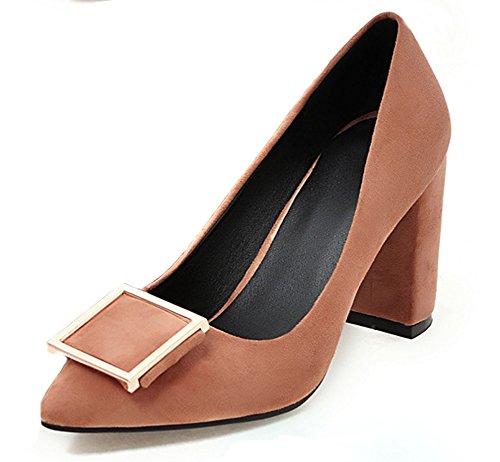 Aisun Damen Elegant Metall Pointed Toe Blockabsatz Pumps Braun
