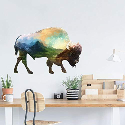 Aufkleber PVC cartoon farbe yak tier wandaufkleber wohnzimmer kinderzimmer dekoration wandaufkleber -