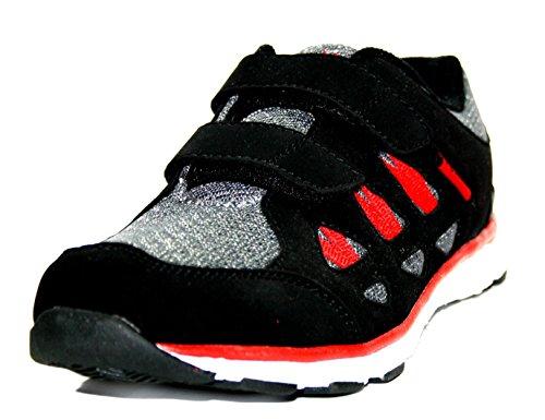 Rebella 430534 Halbschuhe, Sportschuhe Jungen Mädchen Sneaker schwarz/grau/rot)