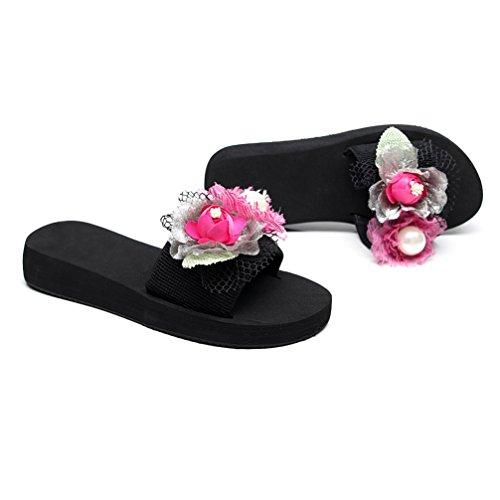Sandali infradito estivi fatti a mano con fiori e sandali con suola spessa,pink,38