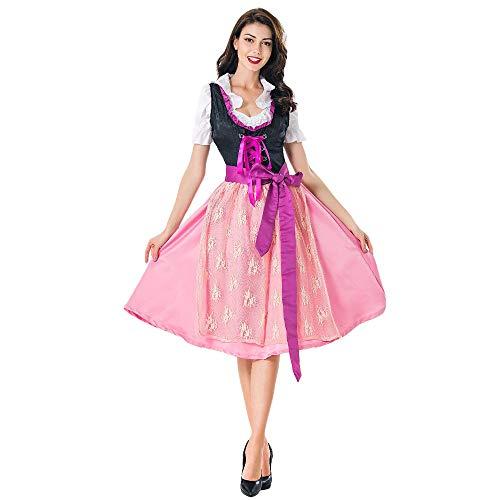 Deloito Damen Trachtenkleid Oktoberfest Dienstmädchen Kostüm Halloween Cosplay Kleid Bayerisches Bier Mädchen Bluse Taverne Maid Rock (Rosa,Medium) (Minion Kostüm Für Kleinkind Halloween)