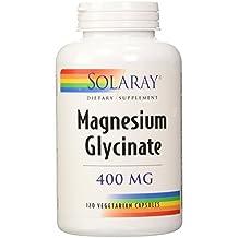 Solaray. Suplemento dietético, glicinato de magnesio, 400 mg por 4 cápsulas, ...