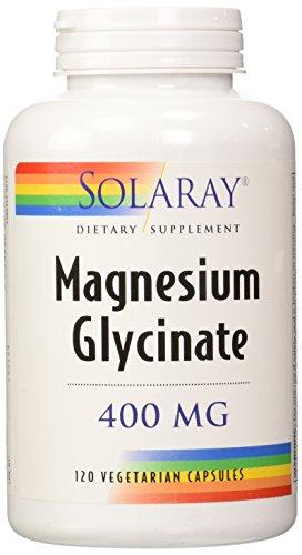Solaray. Suplemento dietético, glicinato de magnesio, 400mg por 4cápsulas, 120en total