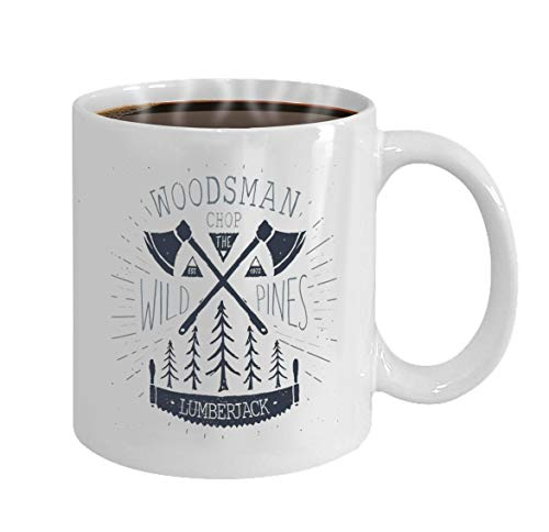 Coffee Mug (White) 11-oz Gifts lumberjack work vintage label hand drawn sketch gru