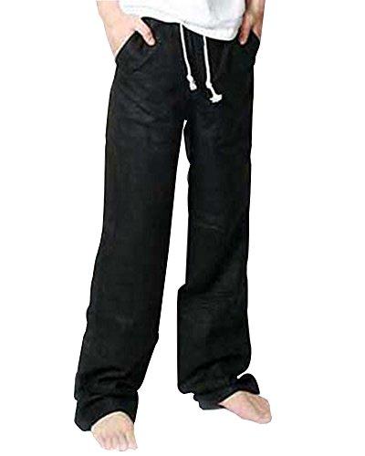 Herren Leinen Hose Loose Fit Freizeit Flachs Kordelzug Hosen Mit Elastisch Taille Schwarz L (Flache Hose Taille)