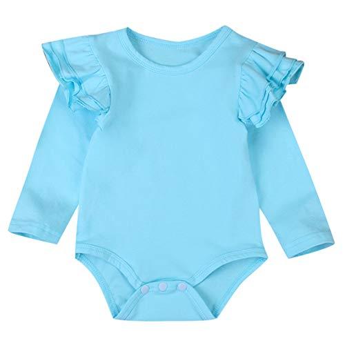 XXYsm Baby Body Tops Strampler Mädchen Blusen T-Shirts Rüschen Langarm Einfarbig Oberteile Blau ❤70/3-6 Monate - Blaue Rüschen Shirt