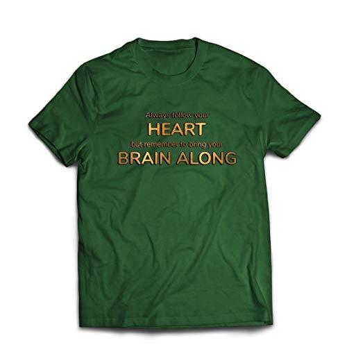 lepni.me Männer T-Shirt Folgt eurem Herzen und bringt euer Gehirn, inspirierendes Angebot. (XX-Large Dunkelgrün Mehrfarben)