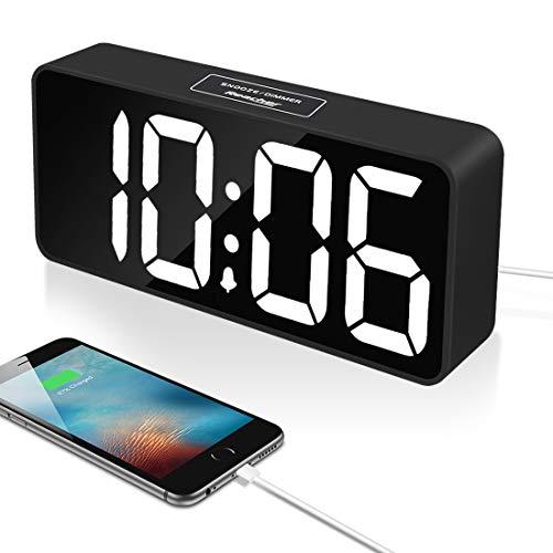 a108cb0c9303 Reacher 9 Pulgadas Grande LED Digital Reloj Despertador con Puerto USB para  Cargador de teléfono