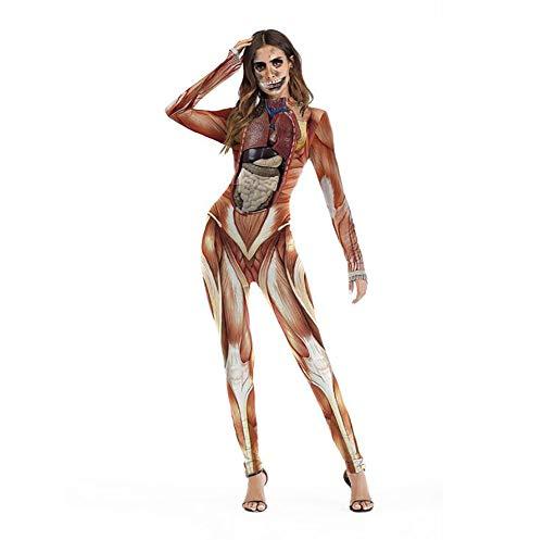 SHANGLY Damen Bodysuit Muscle Visceral Gedruckt Bodycon Jumpsuit Halloween lustiges - Lustige Ideen Für Familie Kostüm