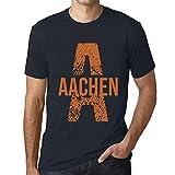 Herren Tee Männer Vintage T-Shirt Letter A Countries and Cities Aachen Marine