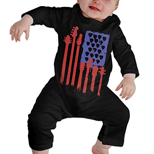 Wnocdmv Newborn Infant Baby Girls Printed Bass Guitar American Flag Romper Jumpsuit Bodysuit -