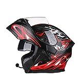 OUTO Aufdeckende Helm Motorrad Outdoor Riding Bluetooth Kopfhörer HD Anti-Fog-Spiegel Full Face Helm Männer Und Frauen Kühle Persönlichkeit (Farbe : Black red Devil, größe : L)