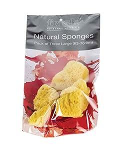 Frisk 75 mm Large Sponge, Pack of 3, Natural