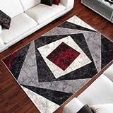 TAPISO Dream Tappeto Soggiorno Salotto Moderno Grigio Rosso Geometrico Quadrato A Pelo Corto 140 x 200 cm