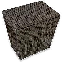 Ratán de plástico Cubierto con Cubos de Basura, baño, Ropa Sucia, Cesta de