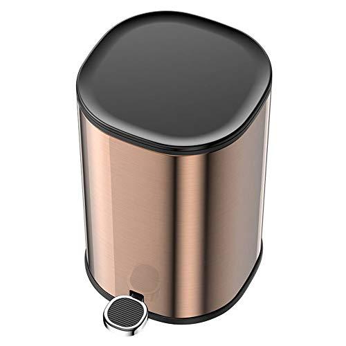 WDDLD Edelstahl Mülleimer Pedal Papierkorb Anti-Fingerabdruck-Metall Mit Deckel Liner Home Küche Schlafzimmer Badezimmer Wohnzimmer Rose gold-5L (Papierkorb Liner)
