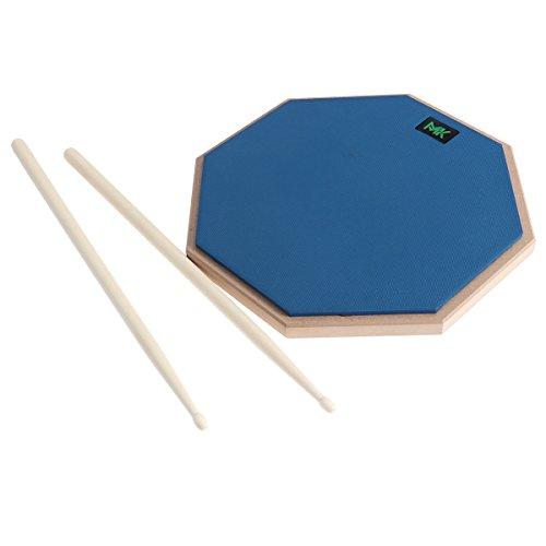 HEALLILY 12 Inch Drum Practice Pads Almohadillas de goma para silenciador de tambor de madera con baquetas para instrumentos de percusión Accesorios (azul)