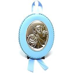 Athelier Médaille pour berceau de bébé | Ange gardien avec enfant | Argent Plaqué PVD