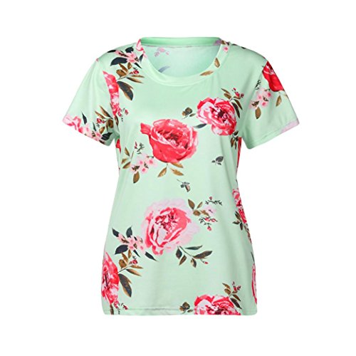 Chemise Femme,Manadlian Tuniques T-Shirt Femme Chemisier à Manches Courtes Imprimé Floral à Manches Courtes Vert
