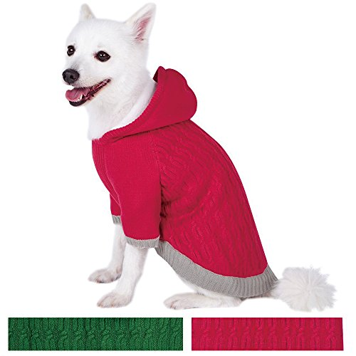 blueberry-pet-warm-fleece-twist-cable-knitted-pull-over-hooded-dog-jumper-in-raspberry-back-length-4