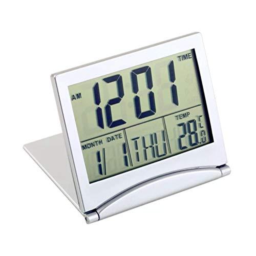 Clock- Digital-Wecker LED-Wecker Reisewecker Elektronische Kleine UltradüNne Faltbare Countdown-Funktion Thermometer Moderne Minimalistische Dekoration Innen Bett Ideales Geschenk Silber Kunststoff 01