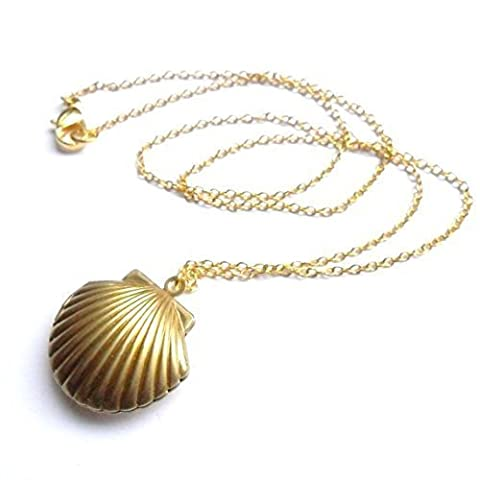 Sea Shell Medaillon, Meerjungfrau Valentine Halskette, Beach Medaillon, gold Ton Messing, Little Shell Medaillon, nautischen Schmuck
