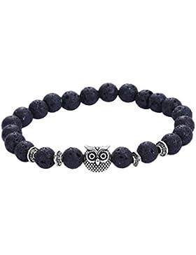 Yogogo Vulkan Armband Eule Armband Silber Armband Lava Stein Perlen Armbänder