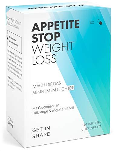 APPETITE STOP Glucomannan Appetitzügler (60 Stück) - Abnehmen schnell und simpel mit dem Appetitzügler von Get In Shape