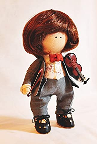 Fait à la main Marionnette Sweet violoniste Boy poupée Décoration