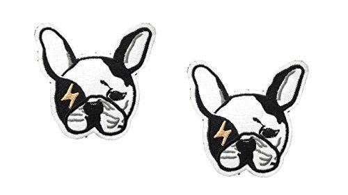 2Stück Hund Eisen auf Patch Applikation Puppy Wachhund, Mops Boston Terrier Pet Animal Motiv Aufkleber 7,6x 7,9cm (7,5x 7,8cm) -