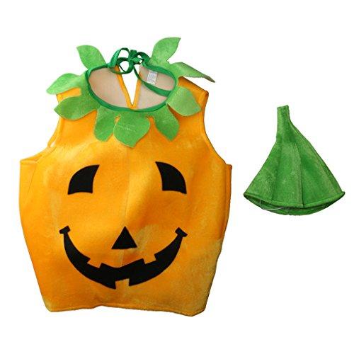 nder Halloween Laterne Gesicht Kürbis Kostüm in Non-Woven Kinderkleidung mit komischer Hut ()