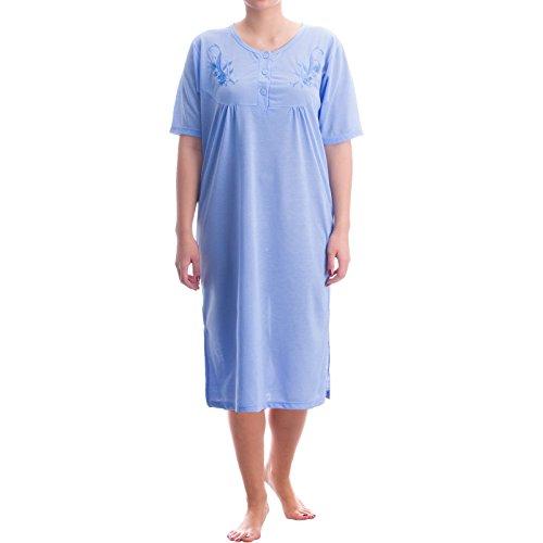 Lucky Nachthemd kurzarm Damen unifarbend einfarbig feminines Nachtkleid Sommer runder Ausschnitt, Größe:M;Farbe:Blau