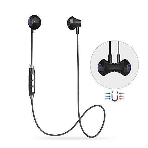 Auriculares Bluetooth 4.1, Auriculares Deportivo Magnéticos con Micrófono, A Prueba de Sudor Estéreo Auriculares Inalámbricos Bluetooth, con Cancelación de Ruido y Soporte Siri Función para iOS y Android dispositivos (GL06-Negro)