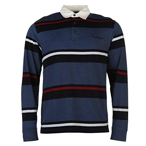 Pierre Cardin Uomo Rugby Polo Maglietta Bottoni Manica Lunga con Colletto Top Denim/Navy Medium