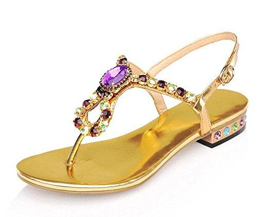 GLTER Donne Flip Flops Pelle di estate Pattini di spiaggia scarpe colorate dolce signore sandali romani Gold