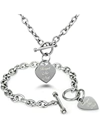 5853f484d69e Forget Me Not (No Me Olvides) Acero inoxidable Corazón Grabado Encanto  Pulsera y Collar