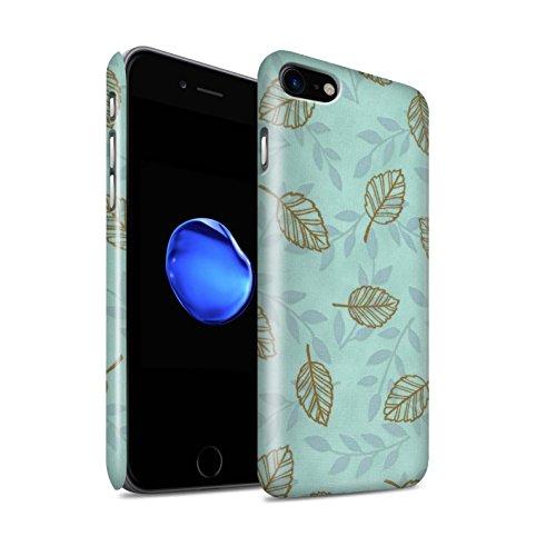 STUFF4 Glanz Snap-On Hülle / Case für Apple iPhone 8 / Pack (6 pcs) / Blatt/Ast Muster Kollektion Türkis/Braun