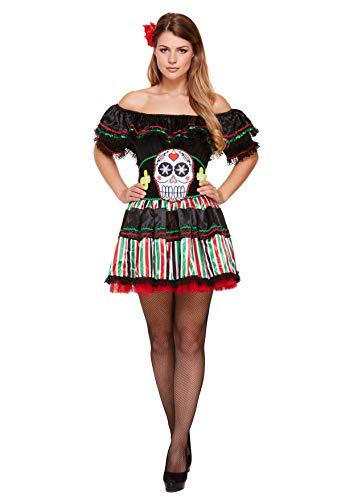 Emmas Wardrobe Tag des Toten Outfits - Enthält mexikanischen Senorita Kleid, Gürtel und Kopfbedeckung - Steampunk Kostüm für Halloween oder Parades (Women: 34, Skull) (Spanische Lady Halloween-kostüm)