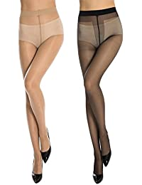 Kotton Labs Women's 2 Pair Black and Beige Panty Hose Long Exotic Stockings Tights