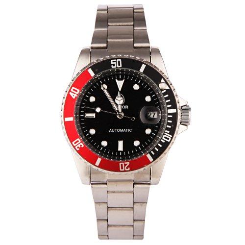 YESURPRISE Automatik Mechanische Uhr Automatikuhr mit Kalender watch Herren Armbanduhr silber schwarz mit Etui